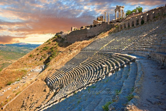 The Theatre of Pergamon ( Bergama ) is one of the steepest theatres in the world. Capable of holding a 10,000 people audience it was constructed in the 3rd century BC and underwent changes in the Roman period of Emperor Caracalla ( 2111-217 AD). Pergamon